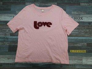 〈送料280円〉H&M エイチアンドエム レディース 立体モチーフ付き 半袖Tシャツ L ピンク
