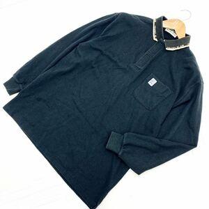 マンシングウェア MUNSING WEAR ブラック 長袖ポロシャツ Lサイズ ゴルフシャツ 鹿の子ポロシャツ シンプルな大人カジュアル♪■N113