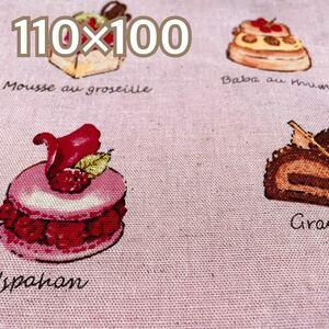 生地 110×100 布地 ケーキ柄生地 スイーツ柄生地 ピンク 綿麻 ハンドメイド