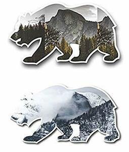 熊 熊 熊シール 2枚セット, アウトドアのシンボルイメージ/ 秋&冬景色のステッカー 防水仕様 屋外用 外貼りタイプ フルカラ