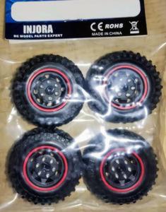【新品】RCカー タイヤ&ホイール 4個セット 49㎜*18㎜ ビードロック 1/24 マイクロクローラー SCX24 90081 SK1389