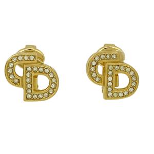 クリスチャンディオール Christian Dior ロゴ ラインストーン CD イヤリング GP ラインストーン ゴールド レディース 【中古】