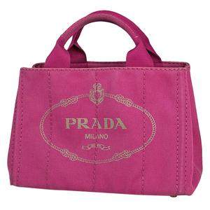 プラダ PRADA カナパ トート 肩掛け 斜め掛け ショルダーバッグ 2WAY ハンドバッグ キャンバス ピンク B1877B レディース 【中古】