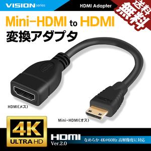 MiniHDMI to HDMI 変換アダプタ 261031 HDMI2.0対応 コンバータ ケーブル 1080P 4K 60Hz 16cm オス-メス 送料無料