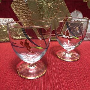 香蘭社 オーキッドレース 足付きペアグラス デザートカップ パフェグラス ワイングラス