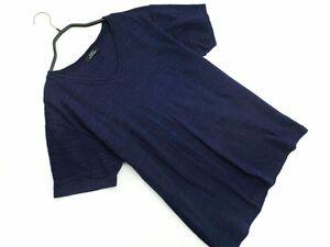 ネコポスOK 5351 POUR LES HOMMES 5351 プールオム Vネック Tシャツ size48/紺 ◇■ ☆ bja8