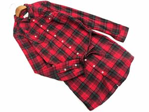 DIESEL ディーゼル チェック リボン ロング シャツ sizeS/赤 ◇■ ☆ bjb2