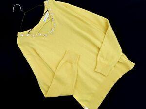 KUMIKYOKU 組曲 アンゴラ混 ビーズ 刺繍 ニット セーター sizeS2/黄 ◇■ ☆ bjb5