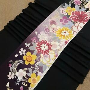正絹 100604 黒色 花柄 シルク4枚 はぎれ ハギレ リメイク ハンドメイド