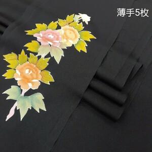 正絹 100603 薄手 無地 黒色 花柄 シルク5枚 はぎれハギレリメイクハンドメイド