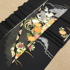正絹 100803 黒色 花柄 シルク4枚 はぎれ ハギレ リメイク ハンドメイド