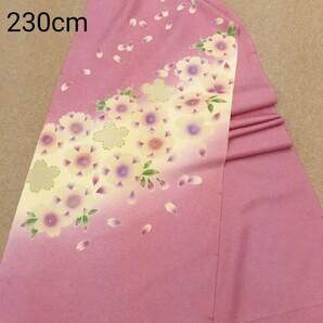 正絹 100807 ピンク色 桜柄 シルク230cm はぎれ ハギレ リメイク ハンドメイド
