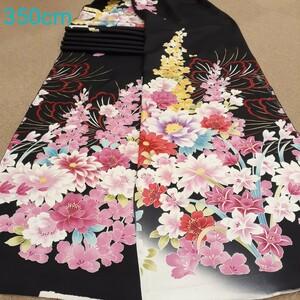正絹 101403 黒色 花柄 シルク350cm はぎれ ハギレ リメイク ハンドメイド