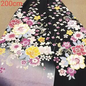 正絹 101504 黒色 花柄 ぼかし シルク200cm はぎれ ハギレ リメイク ハンドメイド