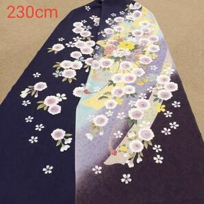 正絹 102006 紺色紫色 花柄 シルク230cm はぎれ ハギレ リメイク ハンドメイド