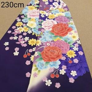 正絹 102208 紺色紫色 花柄 シルク230cm はぎれ ハギレ リメイク ハンドメイド