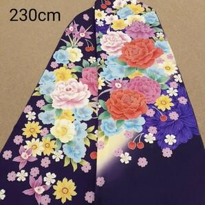 正絹 102207 紺色紫色 花柄 シルク230cm はぎれ ハギレ リメイク ハンドメイド