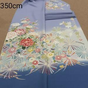 正絹 102509 薄紫色 水色 花柄 菊 シルク350cm はぎれ ハギレ リメイク ハンドメイド
