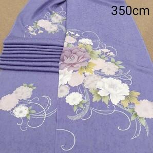 正絹 102203 薄紫色 花柄 シルク350cm はぎれ ハギレ リメイク ハンドメイド