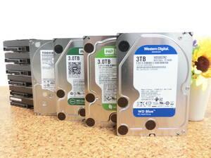 ♪TOSHIBA WD 三種 3.5インチ HDD 3TB 10台セット 接続 SATA ハードディスク /ブランコにてデータ消去済 /CrystalDiskInfoにて正常判定♪