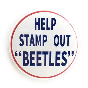 デカ缶バッジ 58mm BEATLES ビートルズ Help Stamp Out Beetles John Lennon Paul McCartney George Harrison Ringo Starr