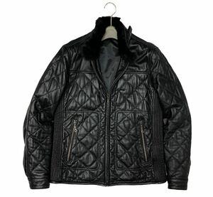 美品!定価4万円 タカキュー MALE&Co. トロトロの羊革 ラビットファー(毛皮) キルティング シングルライダースジャケット 黒/M