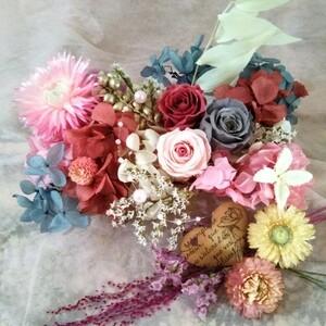 プリザーブドフラワー、ドライフラワー、花材、ピンクとグレージュとローズカラーアレンジ