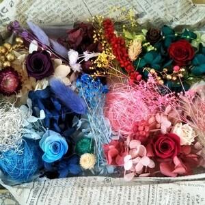 プリザーブドフラワー、ドライフラワー、花材 ハーバリウム花材4色アソート