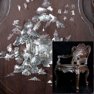 。◆楾◆2 中国古玩 唐木製 楼閣山水図螺鈿椅子 98cm 細密細工 唐物骨董 [P187]VS/21.8廻/MH/(H)