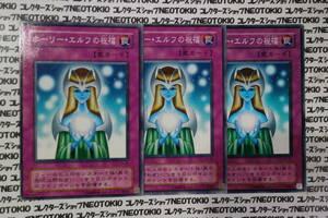 遊戯王 ホーリー・エルフの祝福(ノーマル)×2種3枚セット