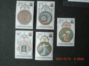 プラハのクラシック時計ー市会の時計ほか 5種完+小型シート 未使用 1978年 チェコスロヴァキア共和国 VF/NH
