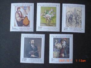 チェコの名画ーバイオリニスト他 5種完 未使用 1974年 チェコスロヴァキア共和国 VF/NH