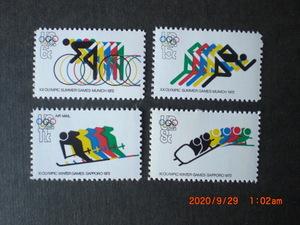 20回ミュンヘン・11回札幌オリンピック大会 4種完 未使用 1972年 アメリカ合衆国・米国 VF・NH