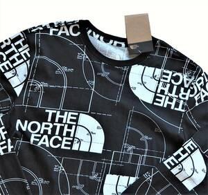 新品未着用 ザ・ノースフェイス正規品 日本XL前後相当(US L) ハーフドームAOP長袖Tシャツ 黒 ロンT ストリートやアウトドアにも