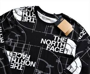 新品未着用 ザ・ノースフェイス正規品 日本L~XL相当(US M) ハーフドームAOP長袖Tシャツ 黒 ロンT アウトドアやタウンにも
