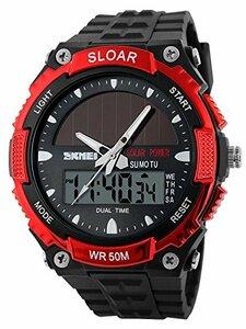 49red ソーラー腕時計 メンズ デジアナウォッチ スポーツ 人気ブランド おしゃれ ファション クロノグラフ アラーム時報