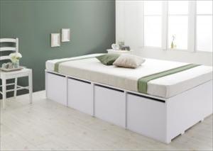 収納ベッド/シングル 引出し4杯 大容量 衣装ケースも入る Friello フリエーロ 薄型スタンダードポケットコイルマットレス付き