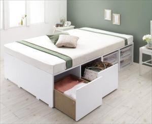 収納ベッド/シングル 引出し2杯 大容量 衣装ケースも入る Friello フリエーロ 薄型スタンダードポケットコイルマットレス付き