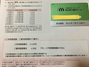 ★三越伊勢丹ホールディングス★株主優待カード★優待限度額3万円★