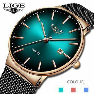 LIGE スポーツ日付メンズ腕時計トップブランドの高級防水ファッションクール腕時計男性超薄型ダイヤルクォーツ時計レロジオ Masculino