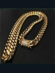 新品未使用品!送料無料! 18kgpイエローゴールド マイアミチェーン喜平ネックレス サイズ50センチ 重さ約80グラム 喜平ネックレス