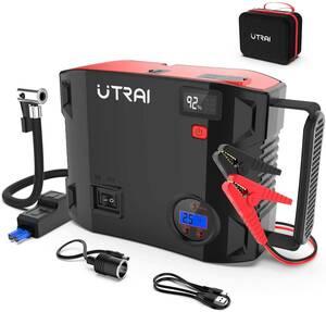 ジャンプスターター 24000mAh エアコンプレッサー搭載 ピーク.電流2000A エンジンスターターDC/USB出力 安全保護機能 LED緊急ライト