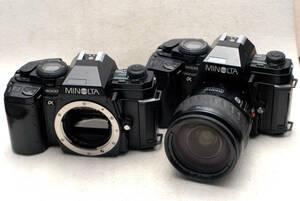MINOLTA ミノルタ 昔の高級一眼レフカメラ α9000ボディ2台 + 純正28-105mmズームレンズ付 ジャンク