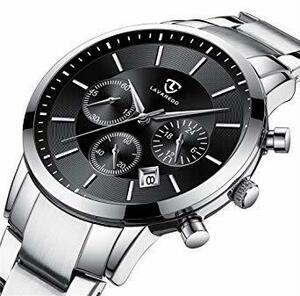 3-シルバーブラック メンズ腕時計 ファッション カジュアル ビジネス 多機能 クロノグラフ ステンレス 防水 日付表示 シルバ