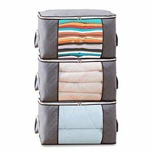 新品 3枚組 3枚組 布団収納袋 大容量 不織布 持ち手付 羽毛布団 毛布 衣類収納袋防水防塵除湿 透明ビニール補強BHSJ