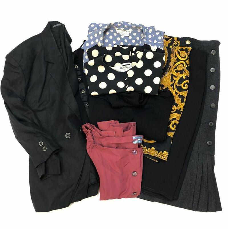 ヴェルサーチ フェラガモ プラダ シルク ウール コットン メデューサ ドット ジャケット セーター シャツ ワンピース スカート 9点セット