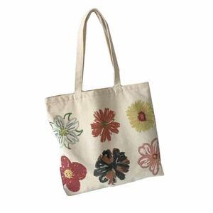 【新品】☆flower design tote bag☆ 花柄トートバッグ 帆布 エコバック ショッピング マザーズバッグ