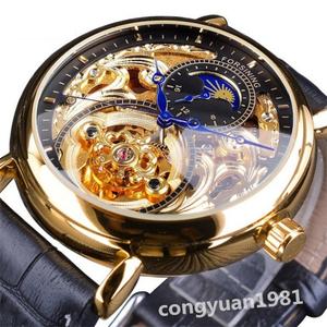 格安★ 男性腕時計 44mm 機械式 自動巻き 高級 スケルトンデザイン SUN&MOON表示 本革ベルト メンズウォッチ 紳士 G/B◇