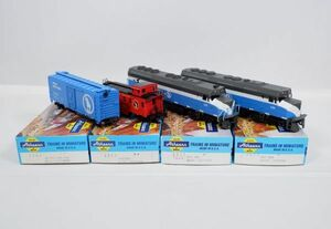 I1642【HOゲージ】Athearn GREAT NORTHERN 1204 40 FT BOX CAR / 1260 CABOOSE / 3602 F45 PWR アサーン 貨車 車掌車など4両セット