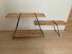 アイアンレッグ鉄脚3台と棚板3段のセット  アイアンラック アイアンシェルフ アイアンテーブル キャンプテーブル アウトドア